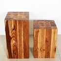 Teak Block Stand - Hand Carved - Oak Finish