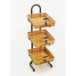 3 Willow Basket Stand / w Sign Holders