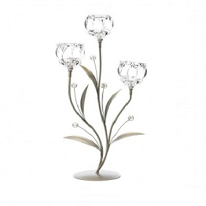 Triple Crystal Flower Candle Holder