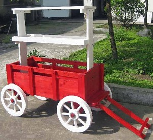 Red Accent Wagon Display - White Wheels