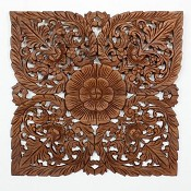 "Lotus Flower Teak Panel - 24"" Square"