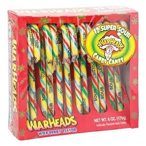 Warheads Super Sour Candy Canes Holiday Candy