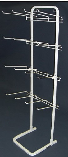 White 12 Hook Non-Flex Display Rack
