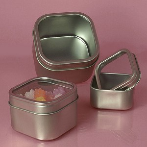 Windowed Square Tins - 16oz - 24ct