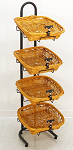 4 Square Rope Basket Display - Clip On Sign Holders