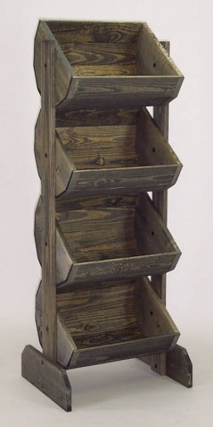 Wooden Barrel Rack Vegetable Bin Wood Produce Stand