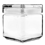 1 Quart Stackable Square Canister w/Glass Lid