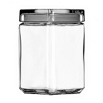 1.5 Quart Stackable Square Canister w/Glass Lid