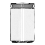 2 Quart Stackable Square Canister w/Glass Lid