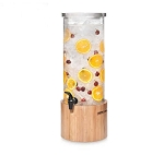 3 Gal Round Beverage Dispenser - Bamboo Base