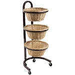 3 Tier Round Wicker Basket Mobile Display