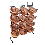 Two Toned 12 Round Willow Basket Display Rack