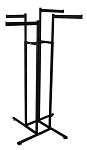 4-Way Sq Tube Rack - Straight Flag Arms Black
