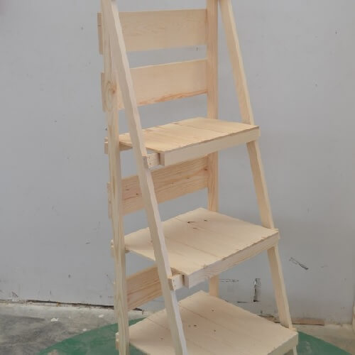 Foldable Wooden Display Ladder Wood Retail Stand Ladder