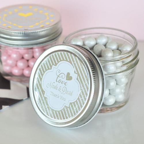 Small Wedding Metallic Foil Mason Jars Personalized Gifts