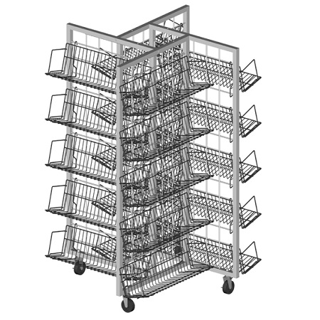 4 Way Merchandiser With Shelves Retail Wire Store Display