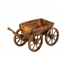 Wood Apple Barrel Planter Wagon