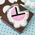 Acrylic Baby Carriage Favor Boxes - 24ct