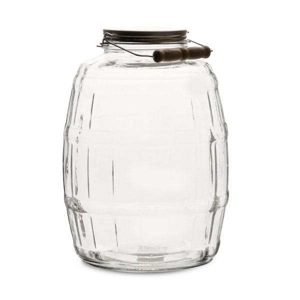 25 Gallon Barrel Jars Aluminum Lids Glass Containers