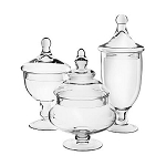Glass Apothecary Candy Jars - Set of 3