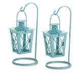 Blue Hanging Railroad Lanterns - 2ct