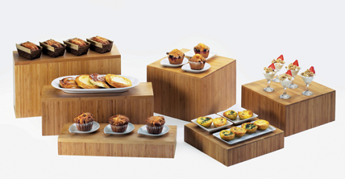 Wood Elevation For Buffet : Bamboo cube riser wholesale displays