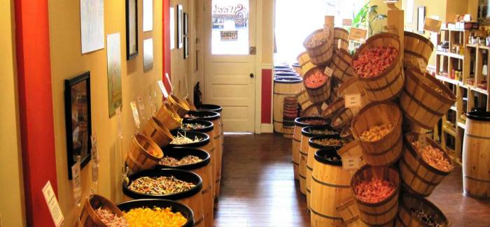 Wood Barrels And Wood Baskets Filled With Candy