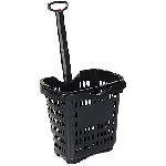 Black Rolling Shopping Baskets - 10ct