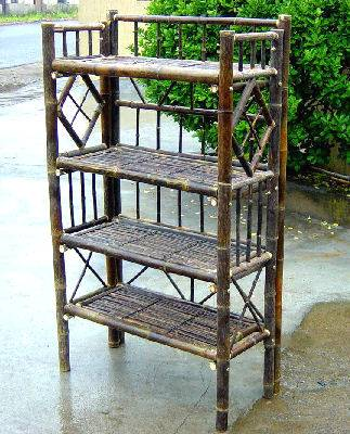 Black Bamboo Four Tier Display Stand Wood Display Bamboo
