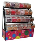 Candy Display Rack With Bins / Scoop Assemblies - 58