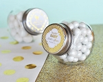 Metallic Foil Baby Mini Glass Candy Jars - 24ct