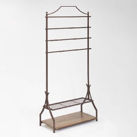 CLOTHING Rack With Bottom Shelves - Bronze Finish