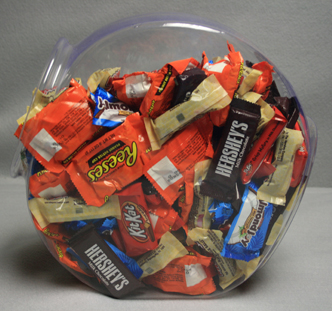 Plastic Fishbowl Candy Container Full Of Candy Assortment
