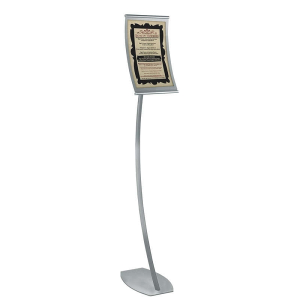 Curved Metal Floor Sign Holder 85x14 Floor Sign Frame