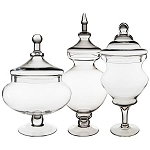 Glass Apothecary Buffet Candy Jars - Set of 3