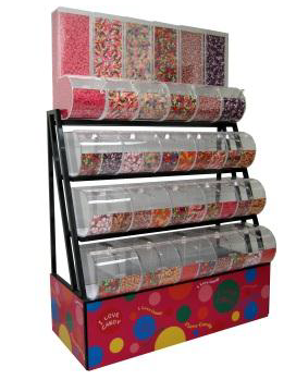 Candy Rack With Divided And Gravity Bins - 72