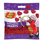 Jelly Belly Red Raspberry Hearts Peg Bag - 12ct