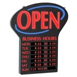Lighted 'Open' With Business Hours Sign