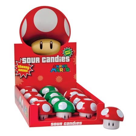 Mario Bros Mushroom Sours Novelty Shaped Candy Sour Candy