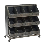 Metal Black Storage Bin Display Cart