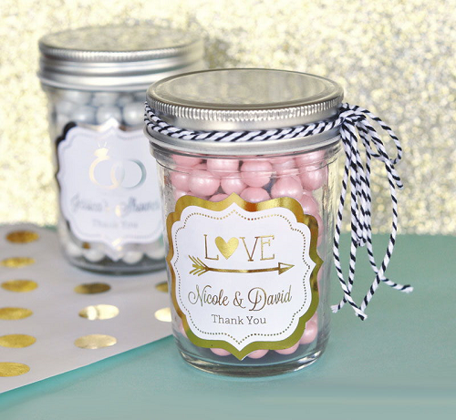 Metallic Foil Wedding Mini Mason Jars Wedding Favors Party Supplies