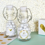 Metallic Foil Mini Wedding Glass Bottles - 24ct