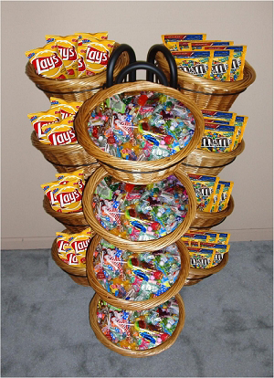 12 Basket Wicker Display With 12 Flavors Of Taffy Retail