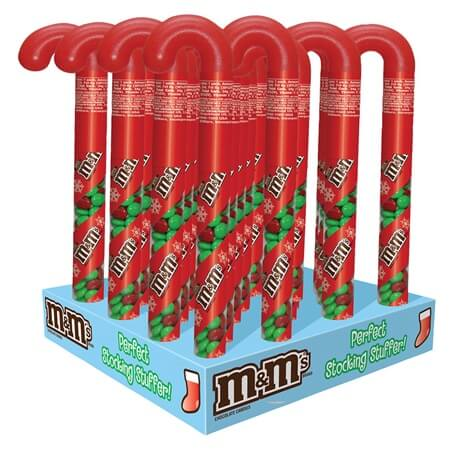 2020 M&M Candy Cane Christmas Dispenser M&M Candy Cane Tube   24ct | Seasonal Candy | Christmas