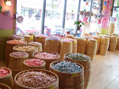 Authentic Wooden Barrels Filled With Taffy