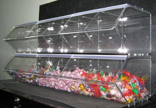 Divided Toppings Dispenser Acrylic Buffet Candy Dispenser