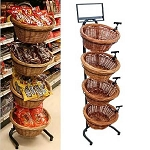 4 Basket Wicker Display