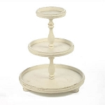 Round Wood 3-Tier Tabletop Display - Cream Finish