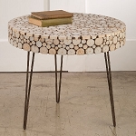 Round Wood Cutout Display Table