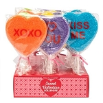 Sanded Sugar Conversation Heart Lollipops - 24ct